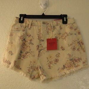 NWT Mossimo Cut Off Shorts Hi-Rise Ivory/Pink Rose